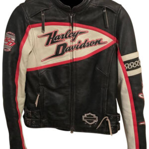 Harley Davidson Black Red Cream Riding Leather Jacket