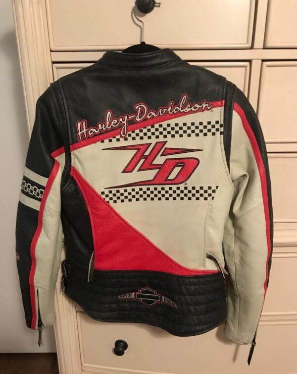 Harley Davidson Black Red Cream Riding Leather Jacket