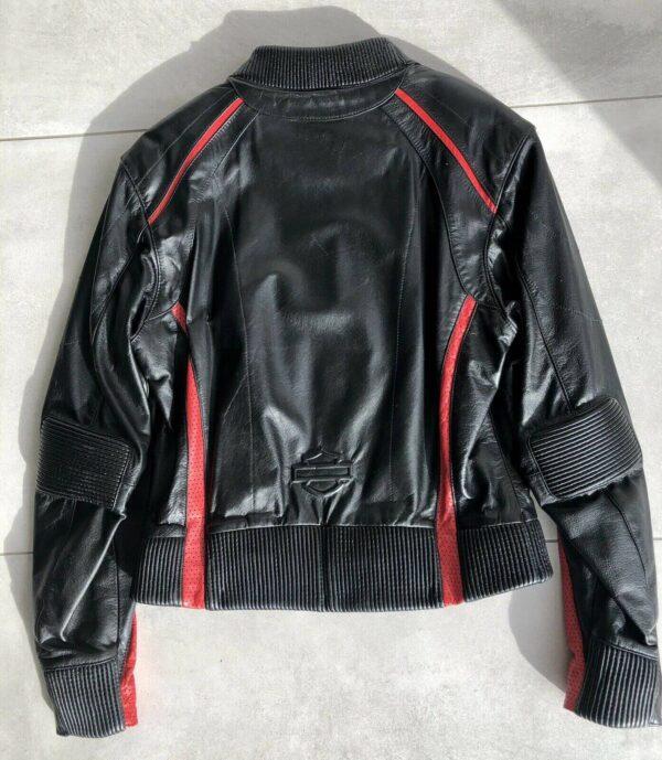 Harley Davidson Black Red Motorcycle Leather Jacket