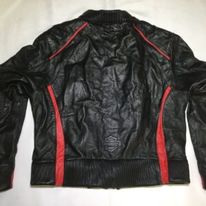 Harley Davidson Black Red Motorcycle Leather Jacket
