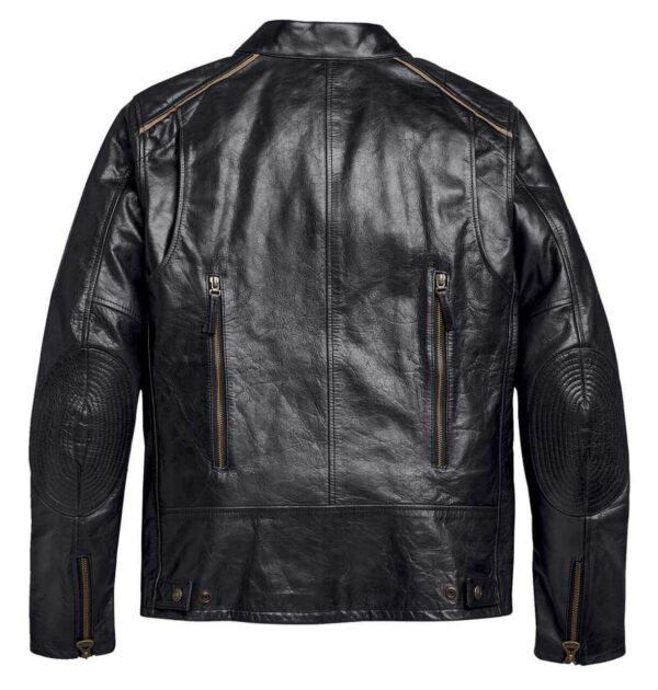 Harley Davidson Black Stripe Motorcycle Leather Jacket