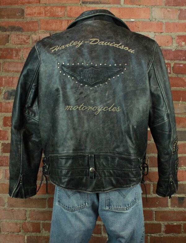 Harley Davidson Black Studded Biker Leather Jacket