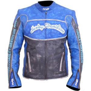 Harley Davidson Blue Motorcycle Leather Jacket