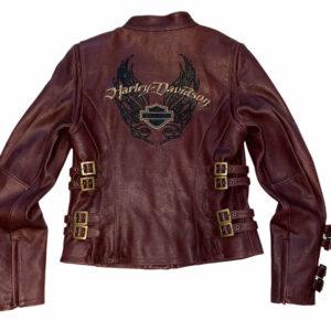 Harley Davidson Burgundy Biker Leather Jacket