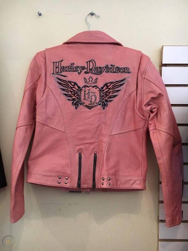 Harley Davidson Cycle Queen Pink Biker Leather Jacket