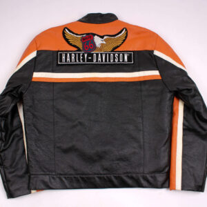 Harley Davidson Orange Black Leather Jacket