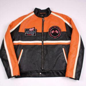 Harley Davidson Orange Black Leather Jacket