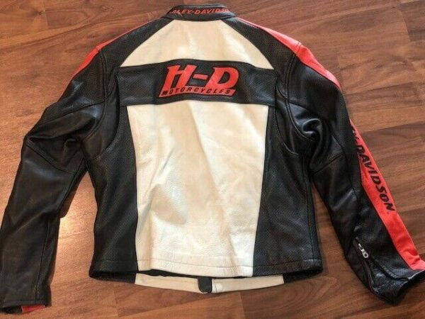 Harley Davidson Orange White Leather Riding Jacket