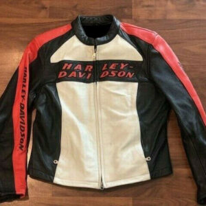Harley Davidson Orange White Leather Riding Jacket