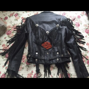 Harley Davidson Patch Black Fringe Leather Jacket