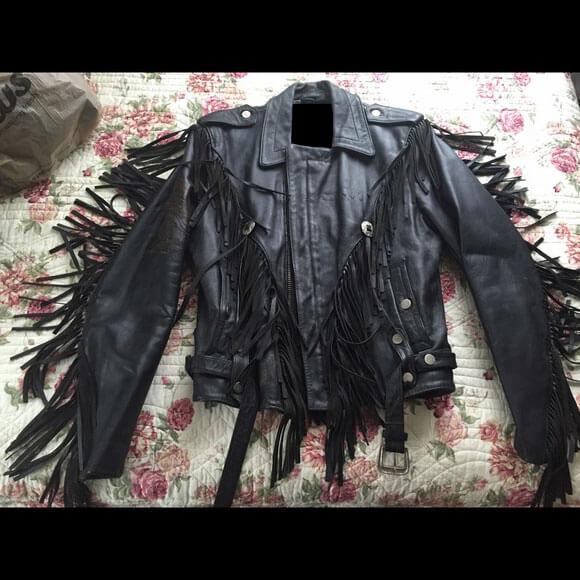 Harley Davidson Patch Black Fringe Leather Jacket
