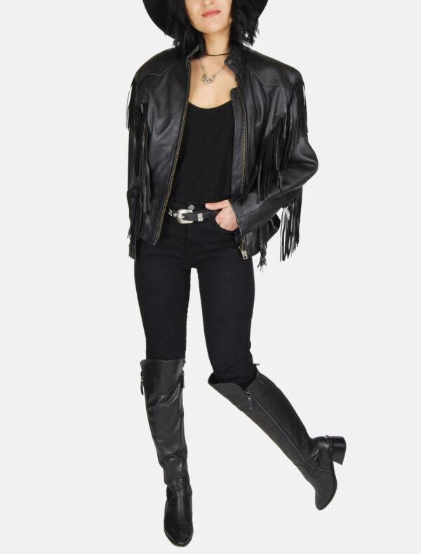 Harley Davidson Patched Black Fringe Leather Jacket