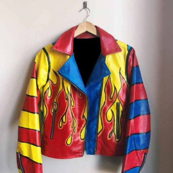 Multicolored Flames Bombs Away Leather Jacket