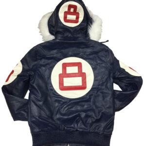 Navy 8 Ball Robert Phillipe Jacket with Fur Hood