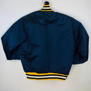 Navy Michigan Wolverines Vintage Satin Jacket