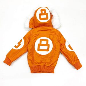 Orange 8 Ball Robert Phillipe Jacket with Fur Hood