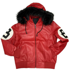 Red 8 Ball Robert Phillipe Jacket with Fur Hood