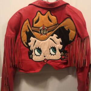 Red Betty Boop Vintage Fringe Biker Leather Jacket