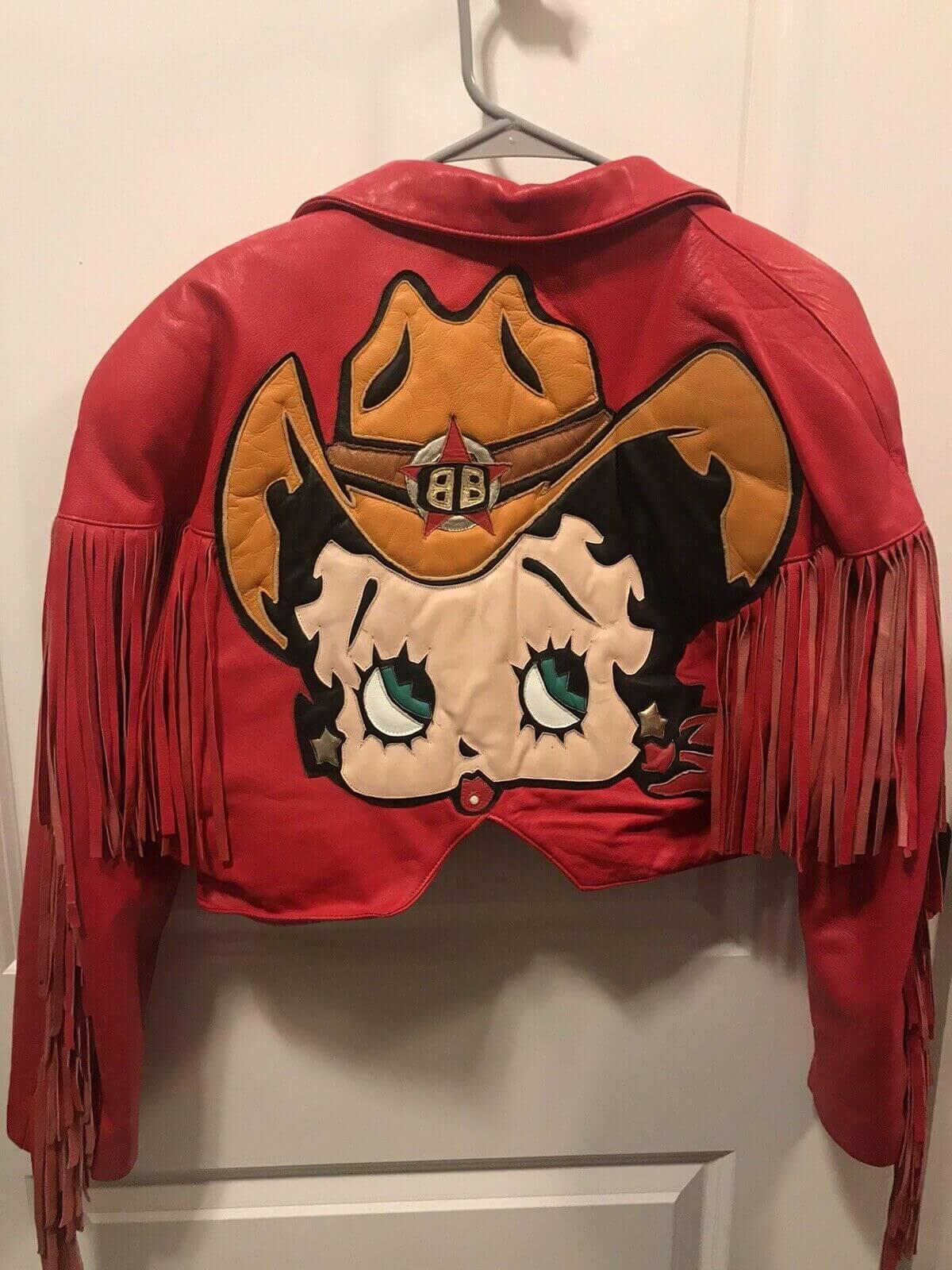 Red Betty Boop Vintage Fringe Biker Leather Jacket