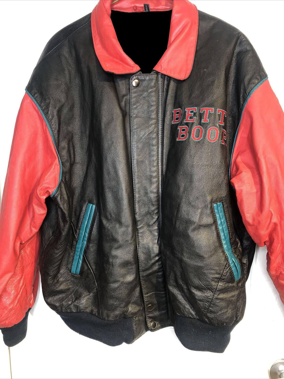 Red Black Betty Boop Vintage Biker Leather Jacket