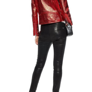 Red Metallic Cracked Leather Biker Jacket