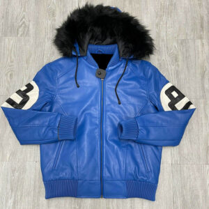 Royal Blue 8 Ball Robert Phillipe Jacket with Fur Hood