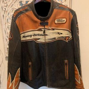 Screamin Eagle Orange Harley Davidson Leather Jacket