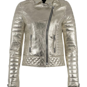 Silver Metallic Leather Padded Biker Jacket