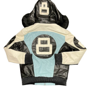 Sky Blue White 8 Ball Robert Phillipe Jacket with Fur Hood