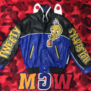 Tweety Sylvester Leather Jacket Blue Black
