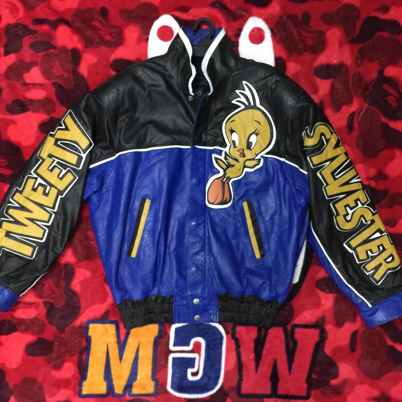 Tweety Sylvester Leather Jacket Blue Black
