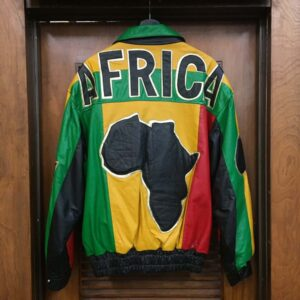 Vintage 1990's Africa Pattern Color Block Leather Jacket