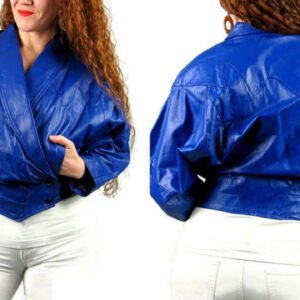 Vintage 80s Blue Flame Leather Glam Biker Jacket
