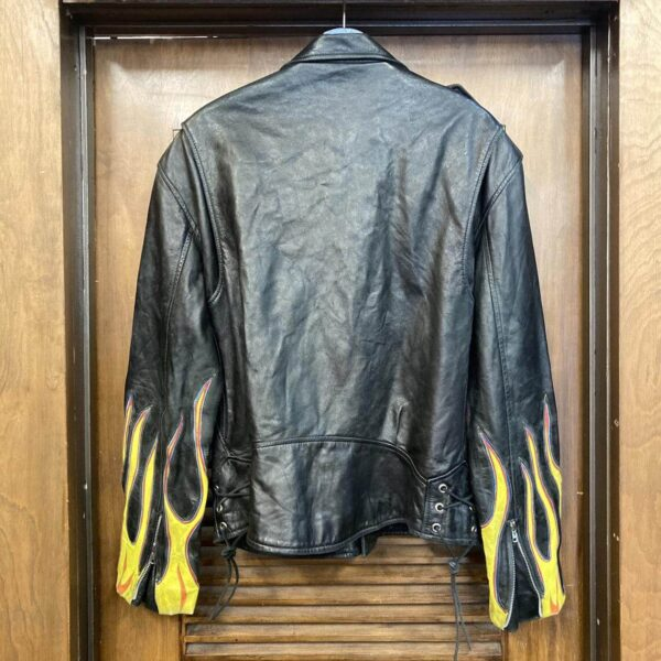 Vintage 90 Black Flame Biker Leather Jacket