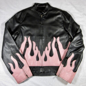 Vintage 90's Pink Flame Vegan Leather Jacket