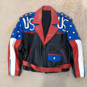 Vintage 90s USA Flag Freedom Biker Leather Jacket
