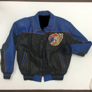 Vintage Born Free Blue Black Leather Jacket