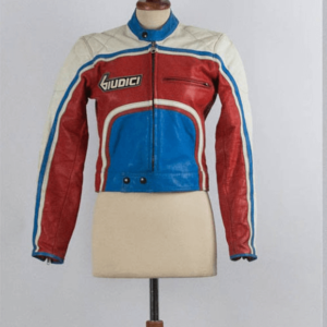 Vintage Giudici Red Blue White Leather Jacket