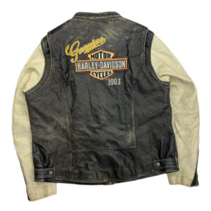Vintage Harley Davidson Black Cream Leather Jacket