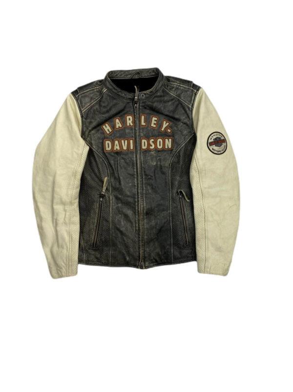 Vintage Harley Davidson Black Cream Leather Jacket
