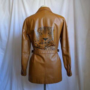 Vintage Leopard Hand Painted Tan Leather Jacket