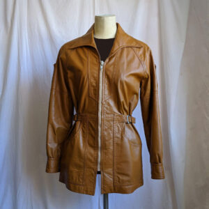 Vintage Leopard Hand Painted Tan Leather Jacket