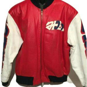 Vintage Peace Graffiti USA Eagle Bomber Leather Jacket