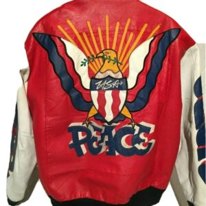 Vintage Peace Graffiti USA Eagle Bomber Leather Jacket
