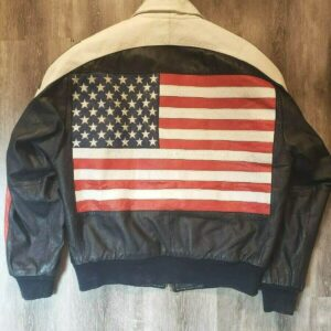 Vintage USA Flag Bomber Leather Jacket