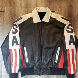 Vintage USA Flag Bomber Leather Jacket