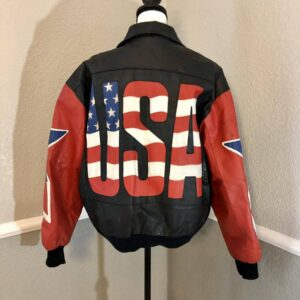 Vintage USA Flag Leather Super Patriotic Bomber Jacket