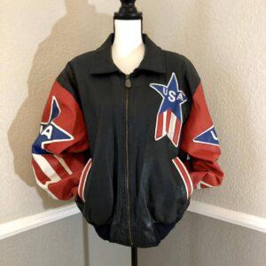 Vintage USA Flag Leather Super Patriotic Bomber Jacket
