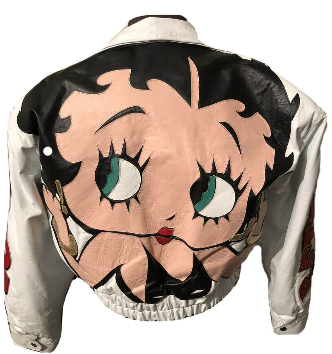 White Betty Boop Vintage Leather Jacket