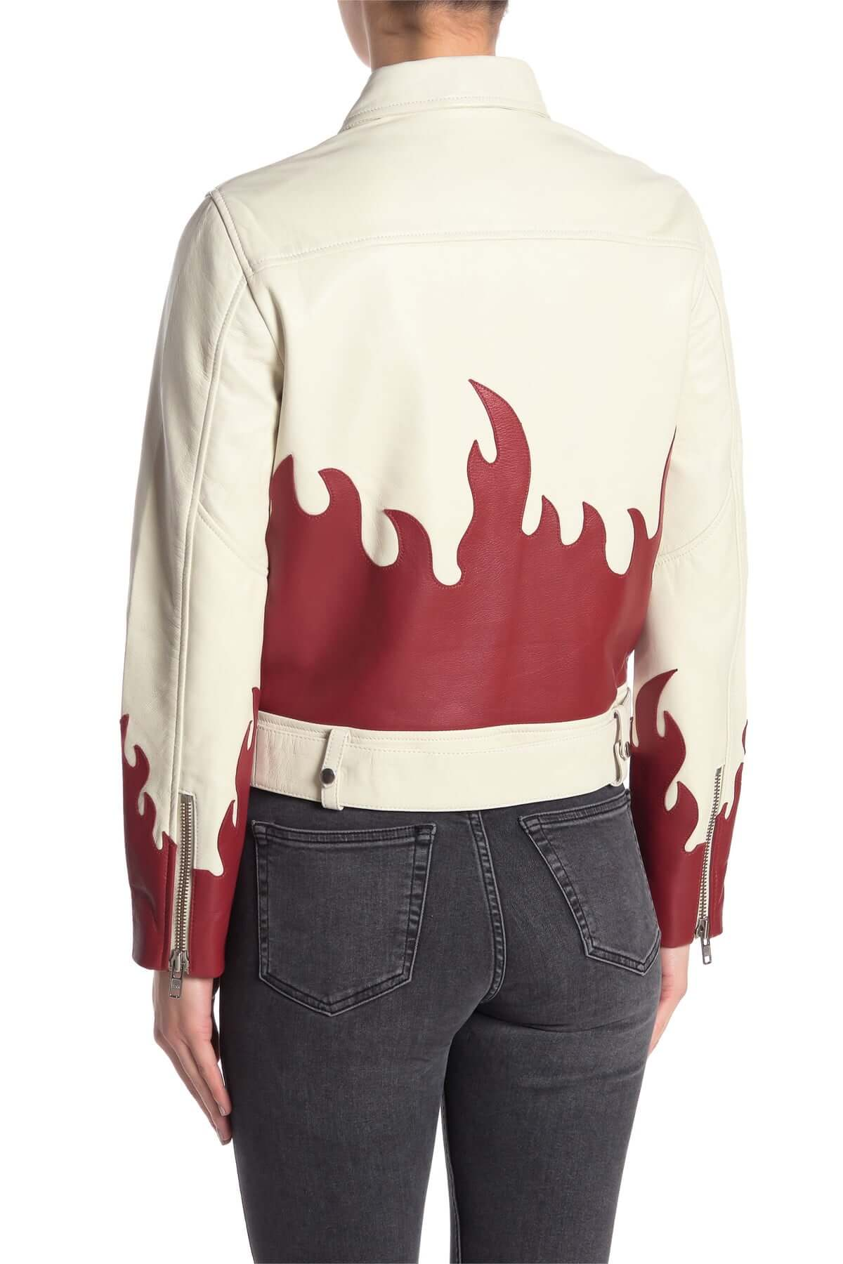 White Red Flames Biker Leather Jacket